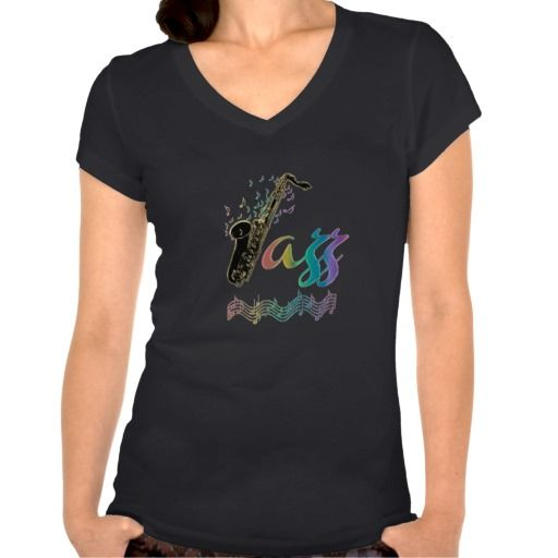 Jazz #Music Lover ~ #Jazz Notes Rainbow Sax Tee