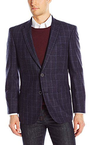 Tommy Hilfiger Men's Ethan Two Button Side Vent Gibbs Feather Weight Sport Coat, Navy, 42R ❤ Tommy Hilfiger Tailored