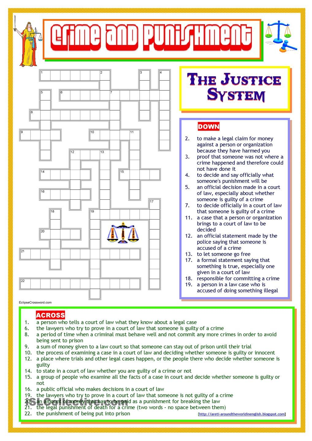 Worksheets Criminal Law Worksheets crime and punishment the justice system pinterest system