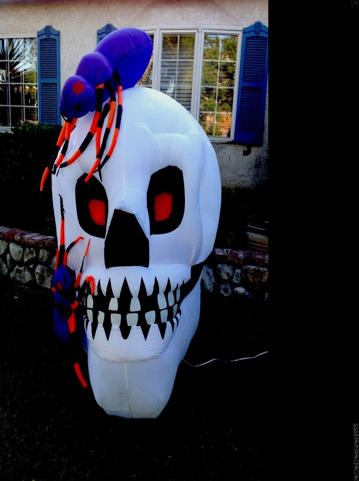 Rare 6ft Tall Halloween Inflatable Skeleton Two Spiders