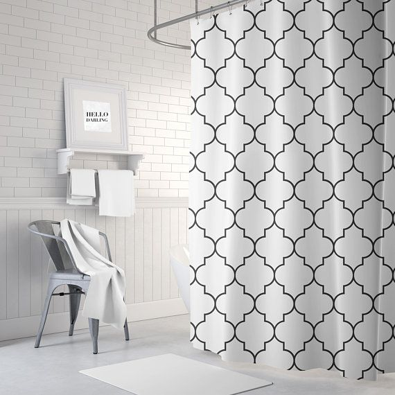 Quatrefoil Shower Curtain, Black and White, Fabric Shower Curtain ...