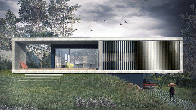 Près de Lyon, une maison contemporaine à la forme radicalement