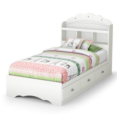 South Shore Tiara Mates Bed, Twin, White, Drawers, Bookcase Headboard - Walmart.com