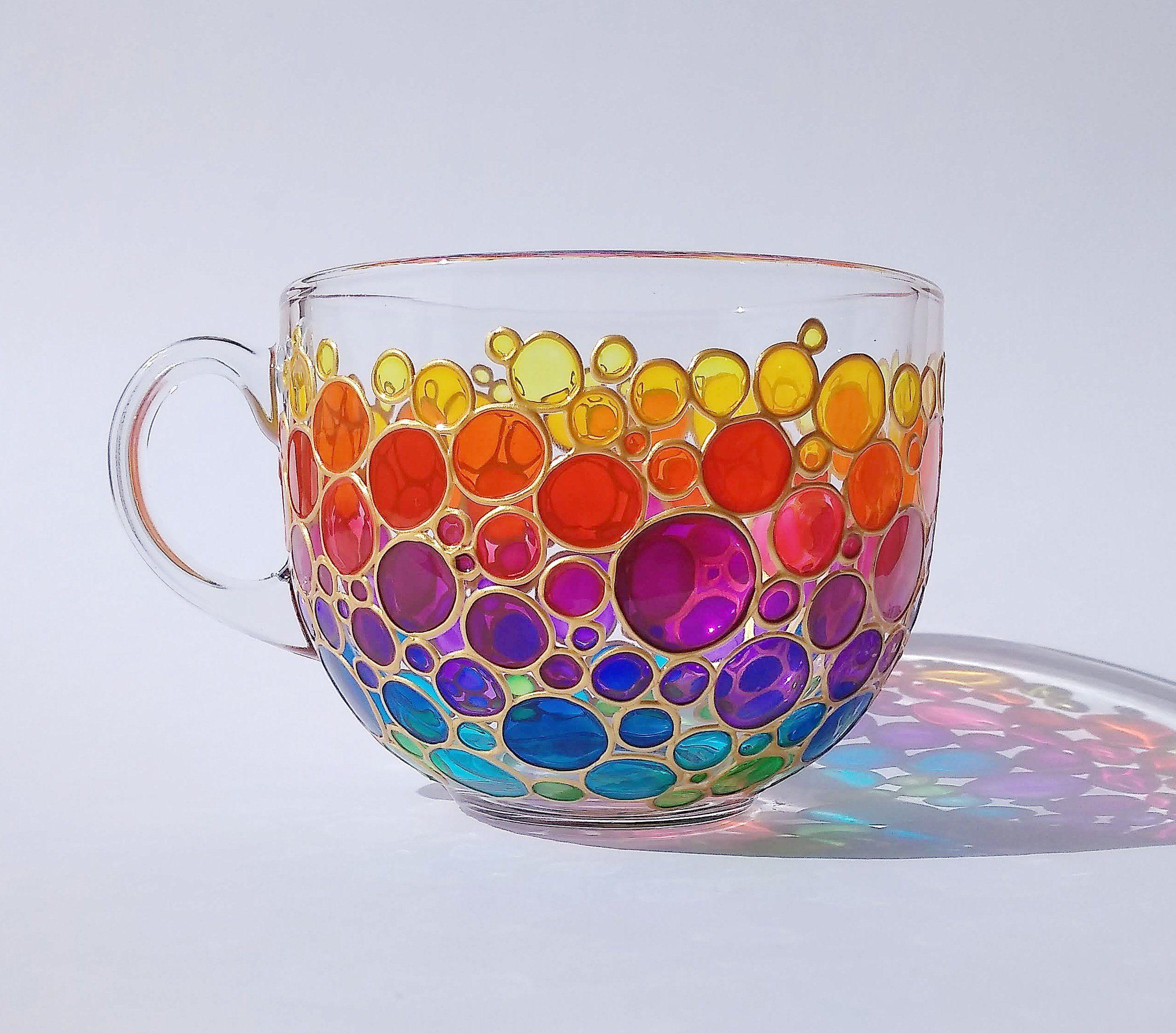 Big Rainbow Coffee Mug Hand Painted Bubbles Glass Big Cup With