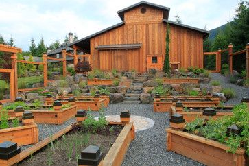 Cool Barn With Wooden Raised Beds For Raised Beds Use Naturally Rot Resistant Woods Like Cedar Or R Traditional Landscape Garden Beds Vegetable Garden Design