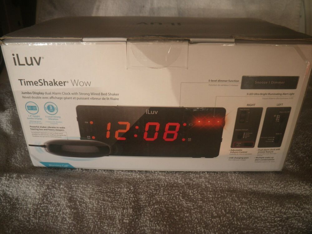 LED//Vibrating Alarm Clock w//Wired Bed Shaker Ideal for Deaf//Hearing Impaired