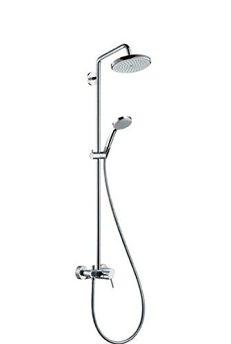 hansgrohe 27154000 wanne showerpipe croma 100 chrom mit armatur f r durchlauferhitzer geeignet. Black Bedroom Furniture Sets. Home Design Ideas