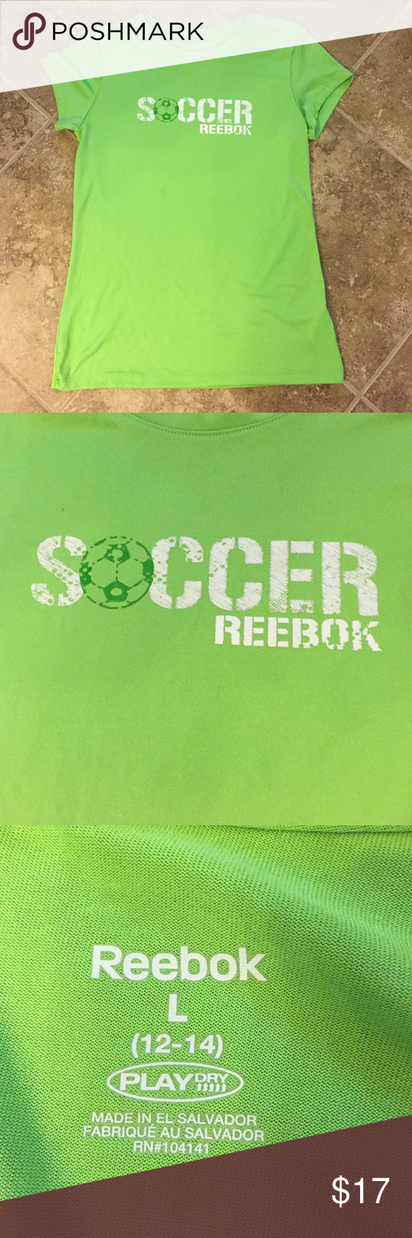 ⚽️Reebok Soccer T-Shirt Sale⚽️ Lime green REEBOK Soccer Tshirt.  Size Large (12-14).  Perfect for your soccer player! ⚽️ Reebok Shirts & Tops Tees - Short Sleeve