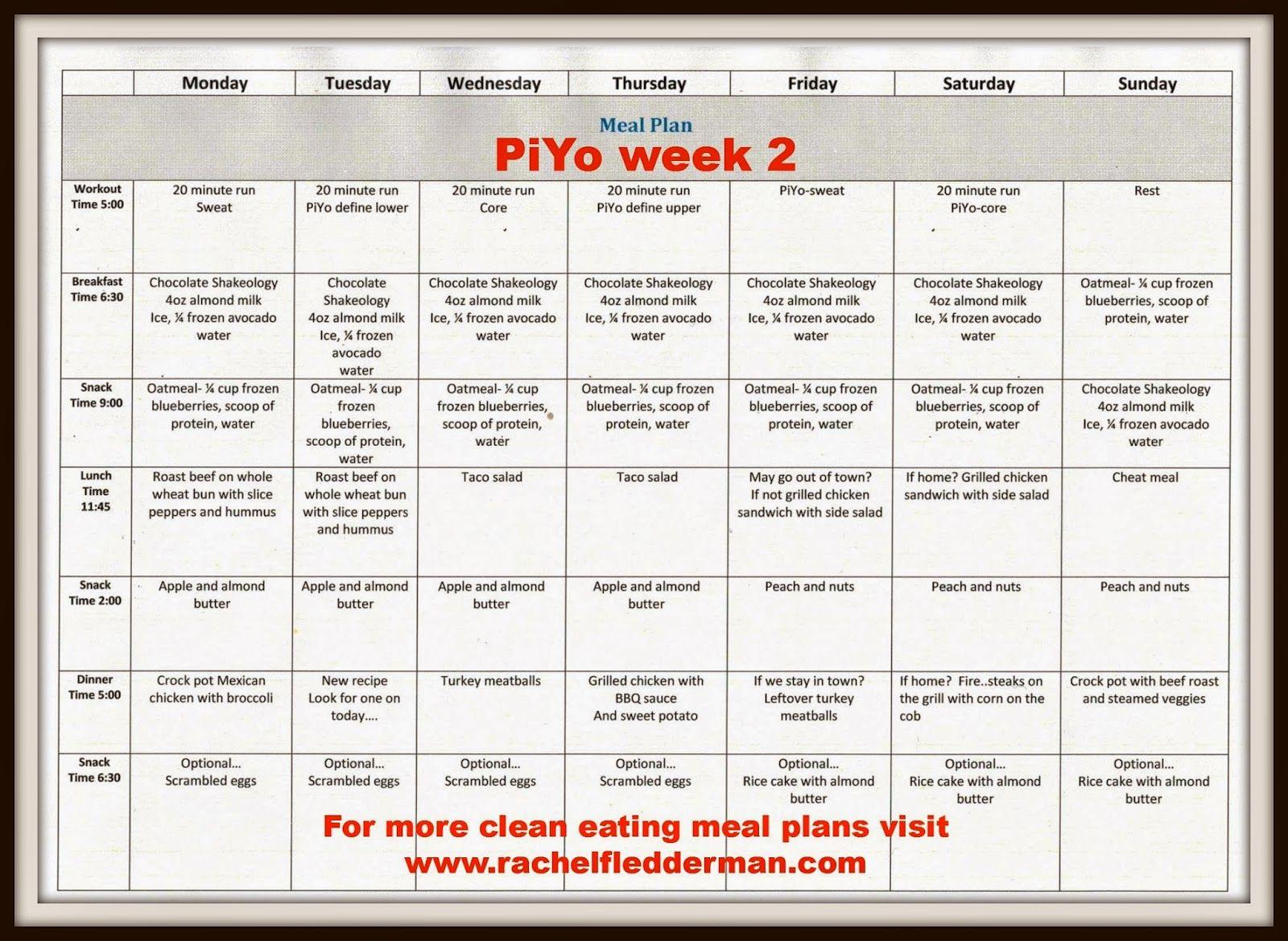 Piyo Week 2 Meal Plan