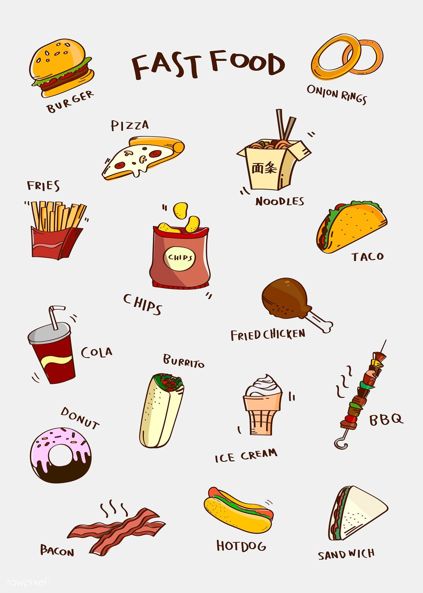 Hand drawn fast food vector set free image by rawpixel