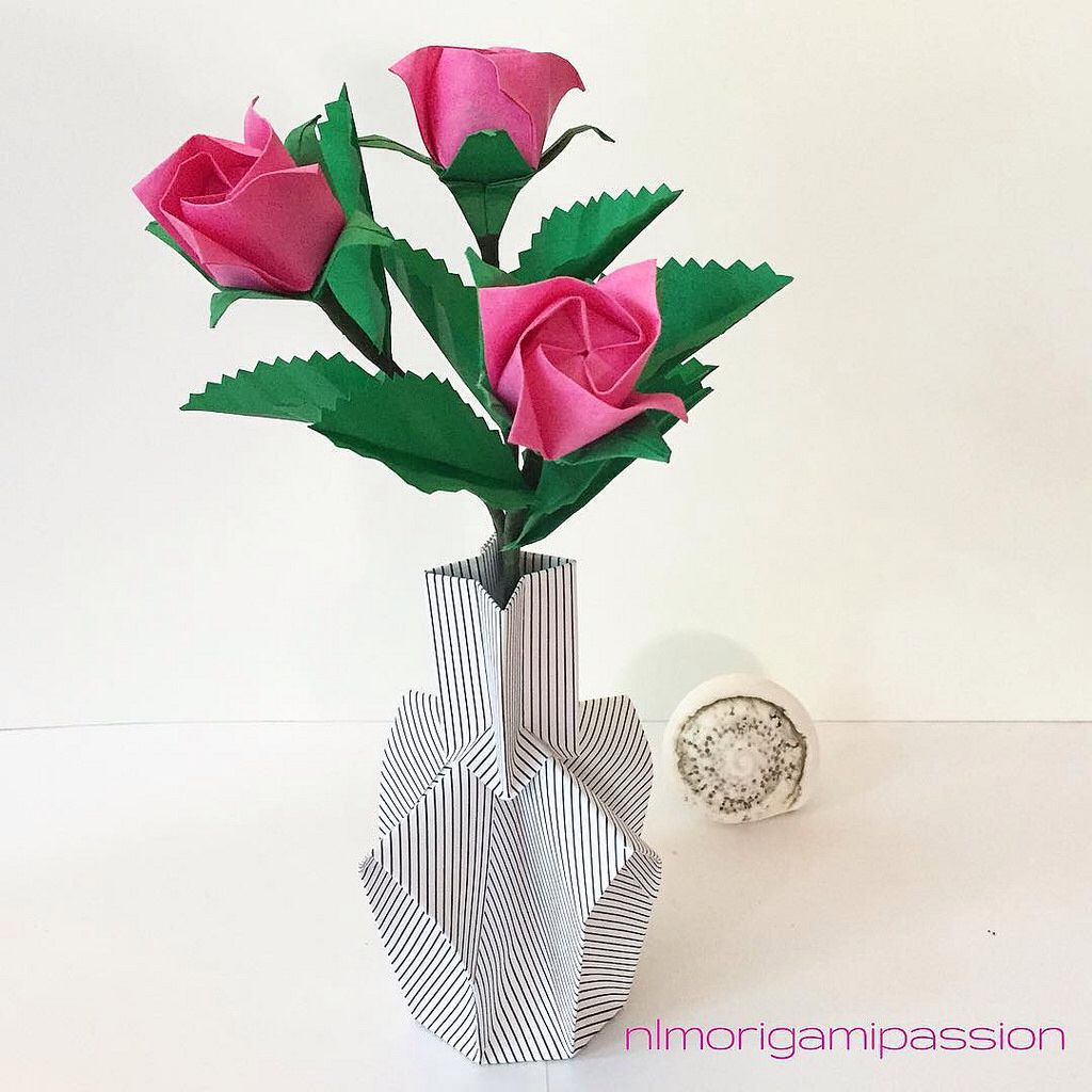 Pink Roses In Paper Vase Nlm Origami Passion Flower Bouquet