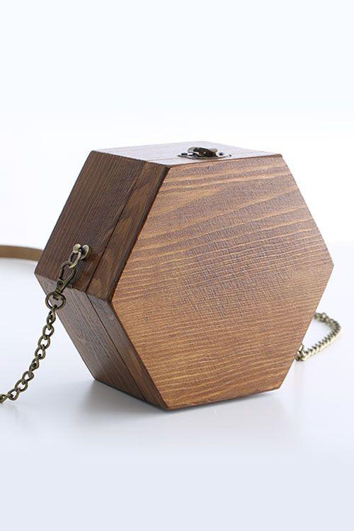 Hexagon Wooden Crossbody Bag  2607a57344415