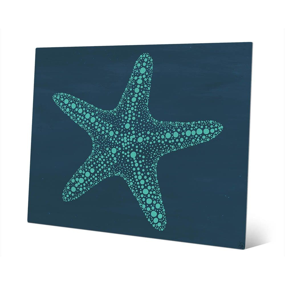 Starfish dots in teal wall art print on metal products pinterest