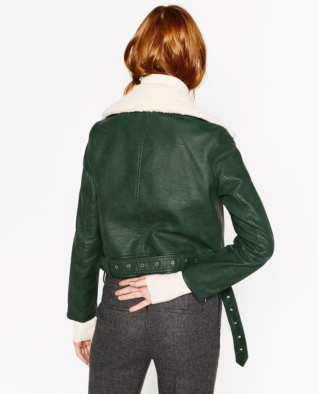 Blouson cuir vert zara
