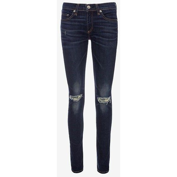 Rag & Bone Ayoyama Rip Skinny ($69) ❤ liked on Polyvore featuring jeans, pants, alice fabray, bottoms, distressed jeans, skinny fit jeans, ripped jeans, super skinny jeans and blue skinny jeans