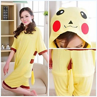 0025bbfe0f Cute Pikachu Yellow Cotton Adult Kigurumi Pajama For Summer Cartoon Sleepwear  Animal Halloween Costume