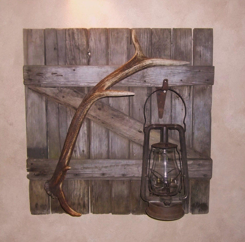 Good Vintage Barn Door Wall Hanging, Elk Antler, Vintage Lantern, Lodge Look, Elk