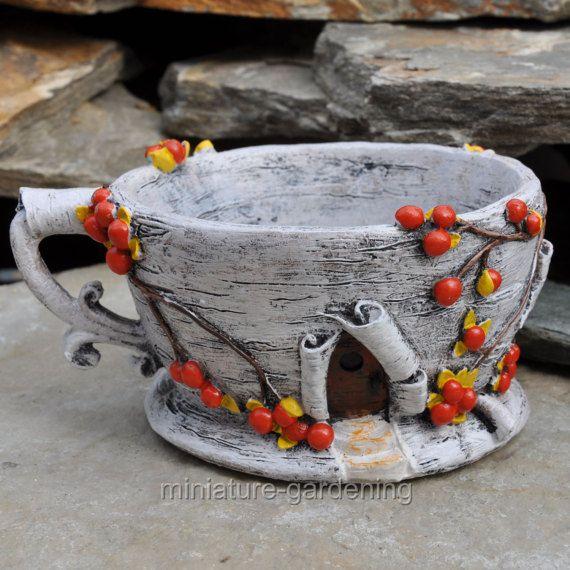 Abedul corteza té taza jardinera para jardín miniatura jardín