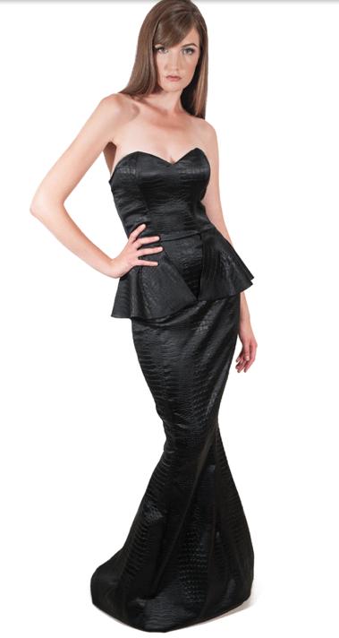 Black Crocodile Peplum Dress Long And Bustier Shape Ready To