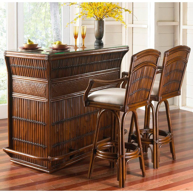 Hospitality Rattan Polynesian 3 Piece Bar Height Dining Set With Cushions    Antique   From Hayneedle