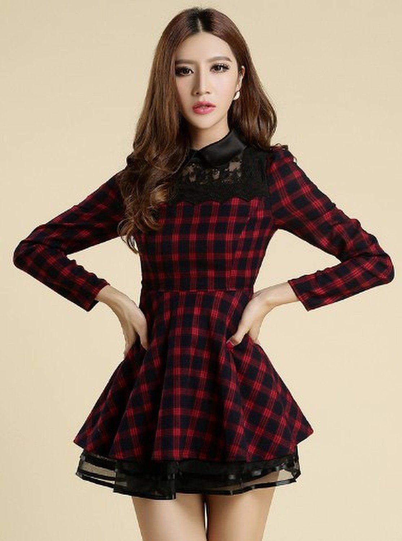 c2aee4060231c Amazon.co.jp: チェック柄ワンピース レディースファッション  服&ファッション小物