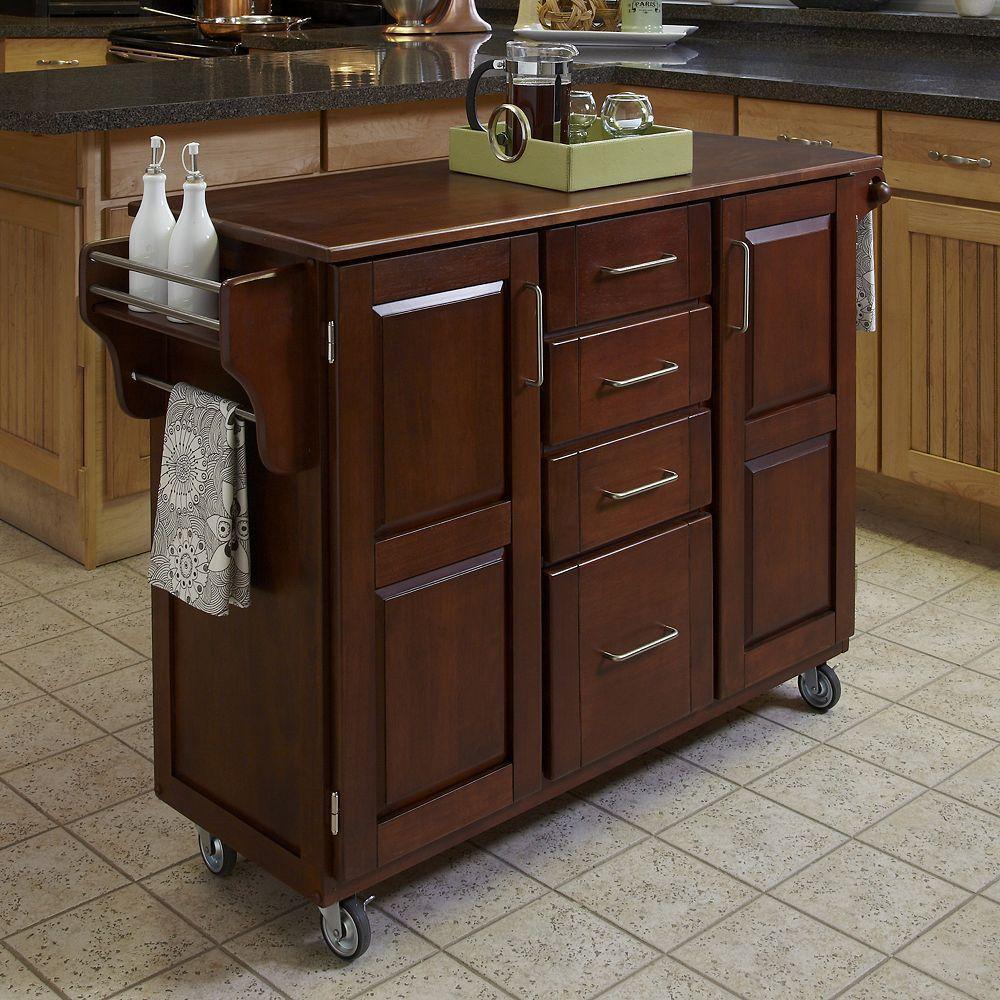 Oak Top Four Drawer Kitchen Cart Brown Portable Kitchen Island Eclectic Kitchen Small Portable Kitchen Island