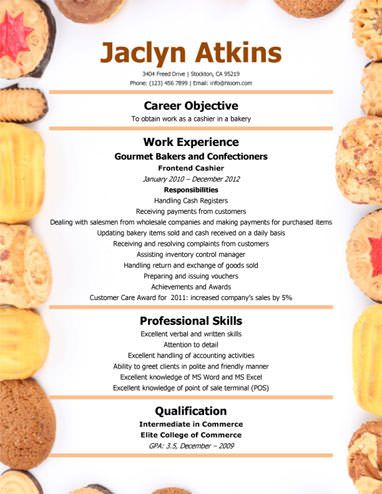 Bakery Cashier Resume Template Resume Templates and Samples - sample menu template