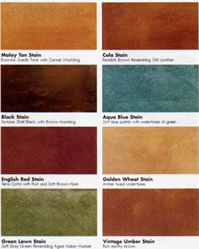 Colors for dye stained concrete, concrete resurfacing, acid ...