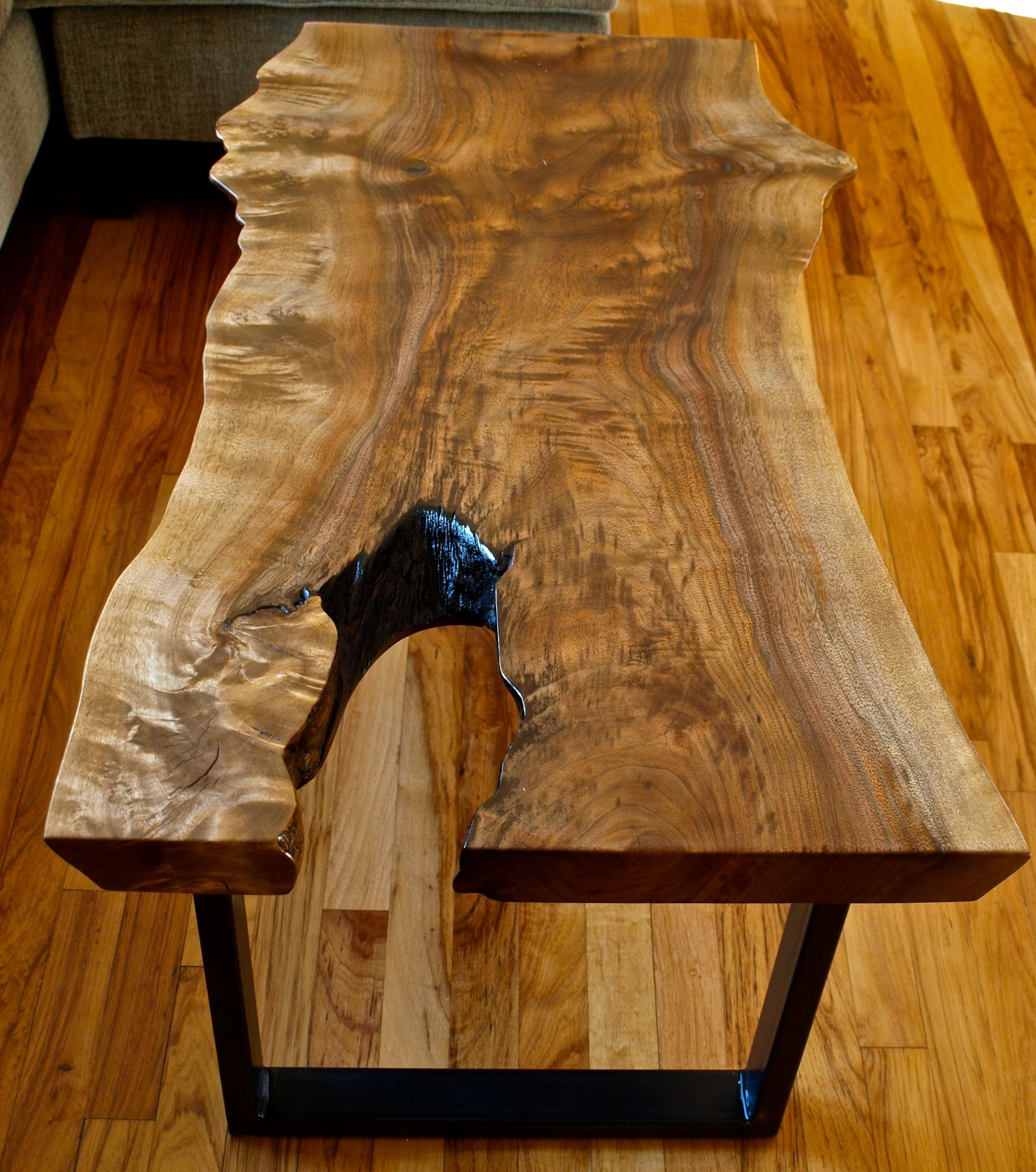 Vintage Industrial Live Edge Walnut Slab Coffee Table: Custom Made Walnut Live Edge Coffee Table