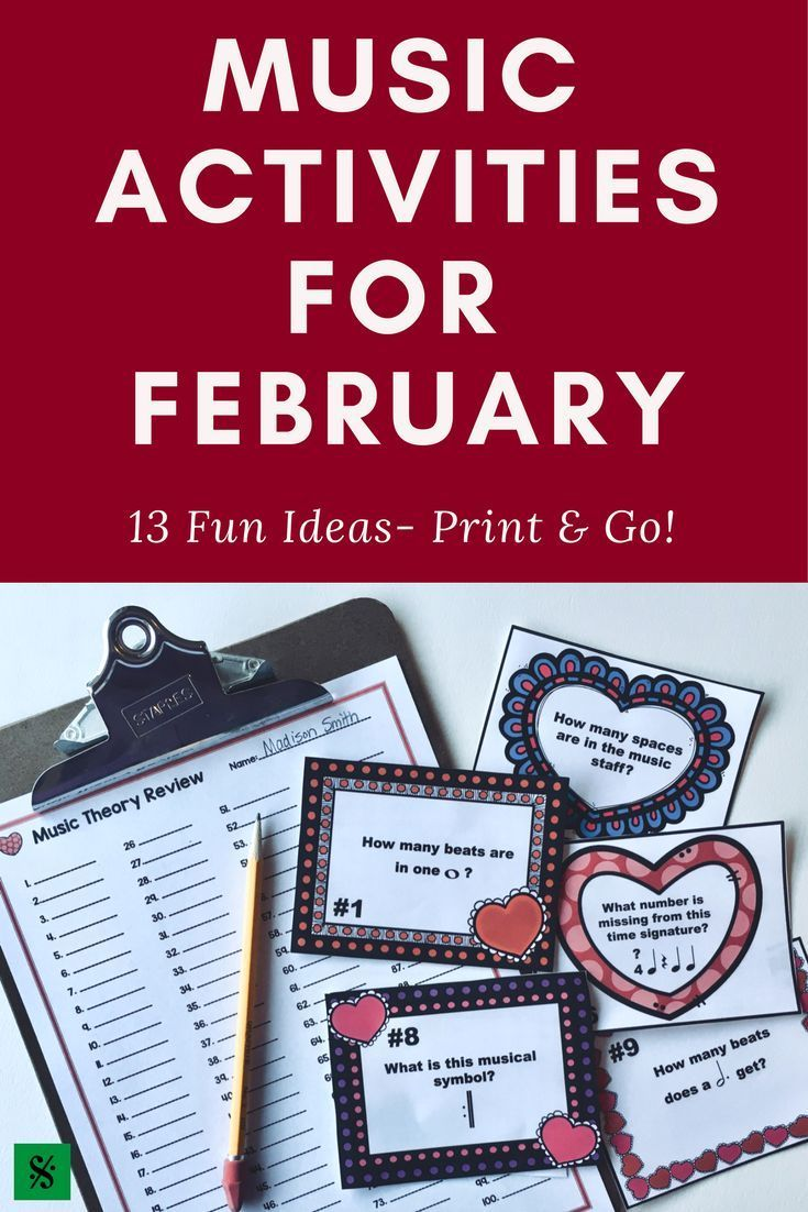Valentines Day Music Worksheet W100 Editable Task Cards Slide
