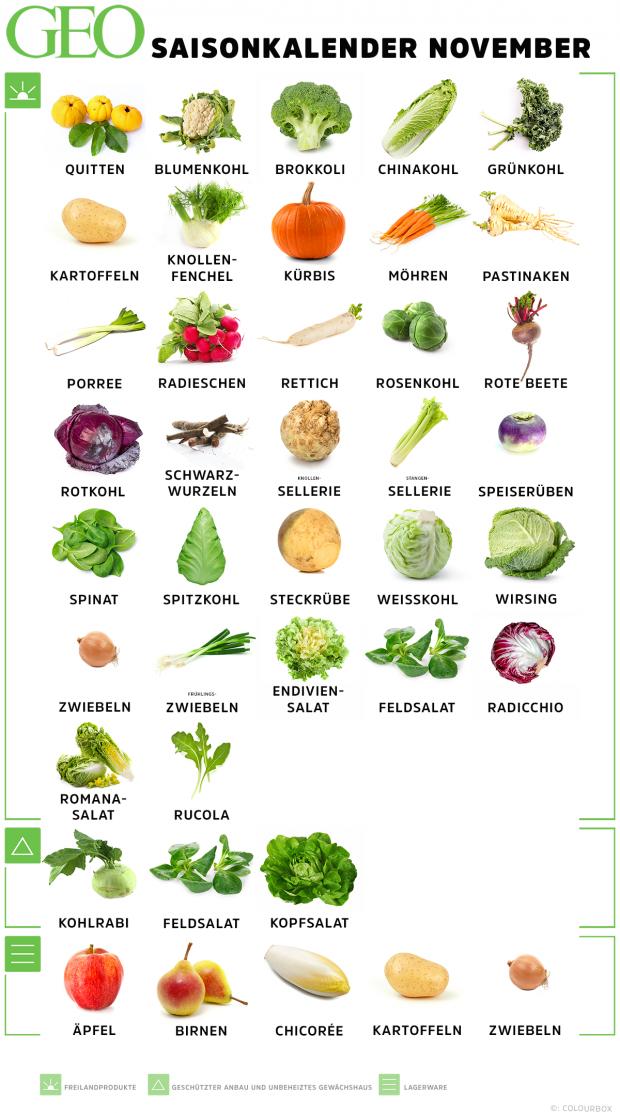 Saisonkalender November: Obst & Gemüse