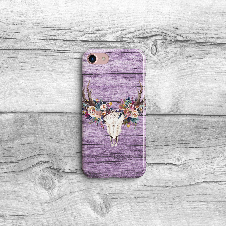 Purple Phone Case, Feather Deer Skull, Rustic Wood iPhone