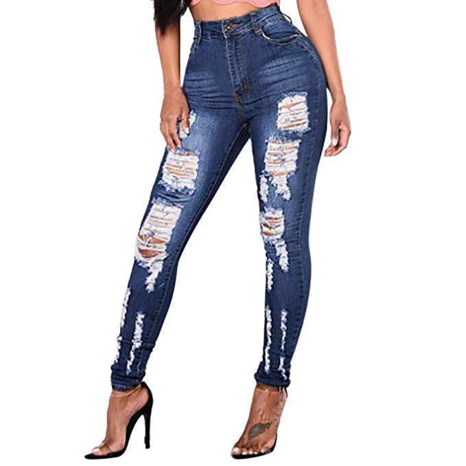 Longra Women Pencil Pants Slim Stretch Jean Fashion Female Mid Waist  Stretch Sexy Pants(Blue d77dbd13e71f