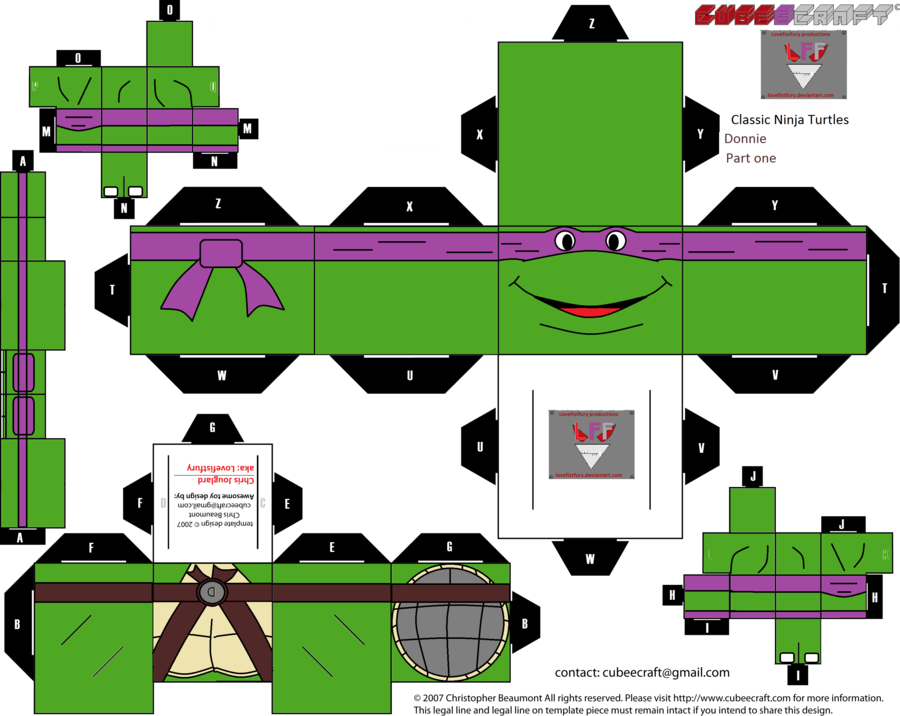classic ninja Turtles Donnie Cubee template part 1 by lovefistfury on deviantART