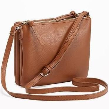 Old Navy Womens Dual-Zip Crossbody Bag for Women New Cognac Size One Size