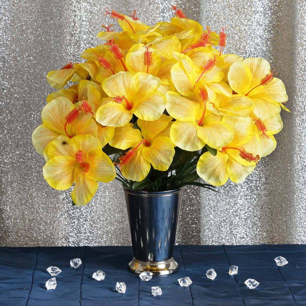 60 Artificial Silk Hibiscus Flowers Yellow Hibiscus Bush