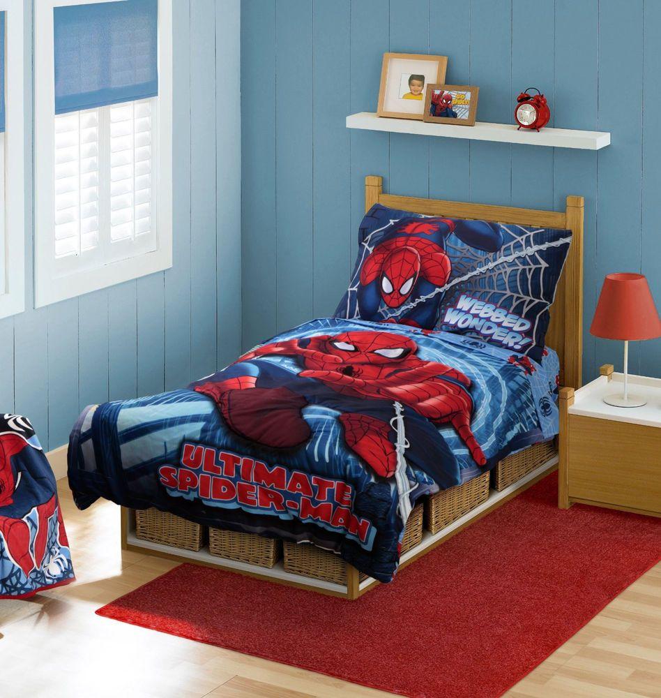Spiderman Bedding Set Comforter Sheets Toddler Bed Baby Crib Kids