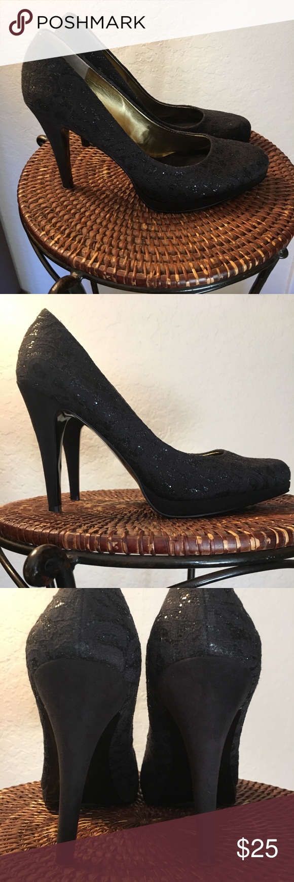 ❗️🔻EUC Nine West Black Glitter Pumps🔻❗️ ❗️🔻Final Price Drop❗️FIRM❗️Nine West Black Lace & sequin pumps.  Worn once for my daughters prom.  Excellent condition.  Size 8M/4.5 inch heal height Nine West Shoes Heels