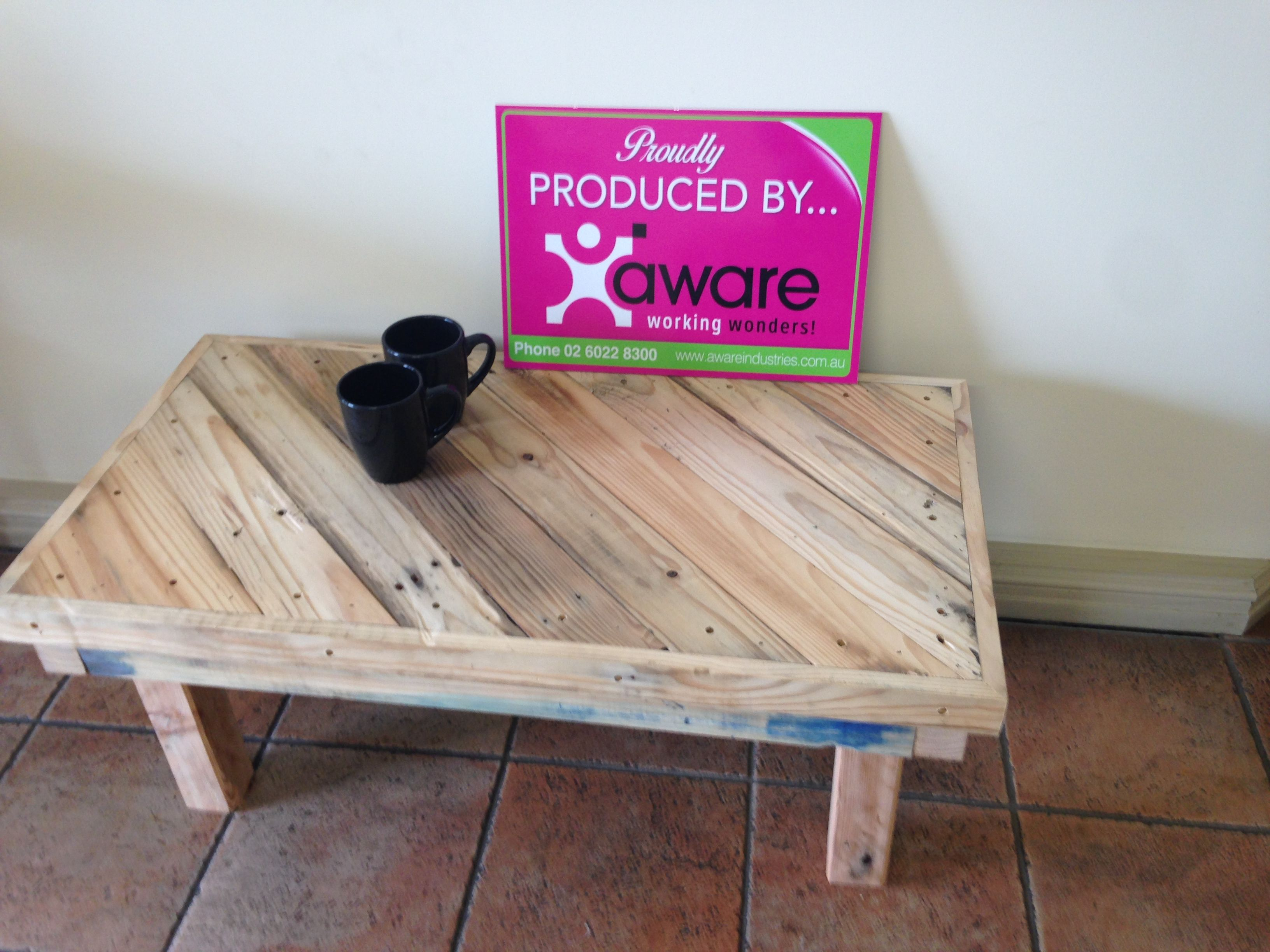 Coffee Tables Made By The Aware Industries Staff From Recycled Timber Pallets Visit Our Website