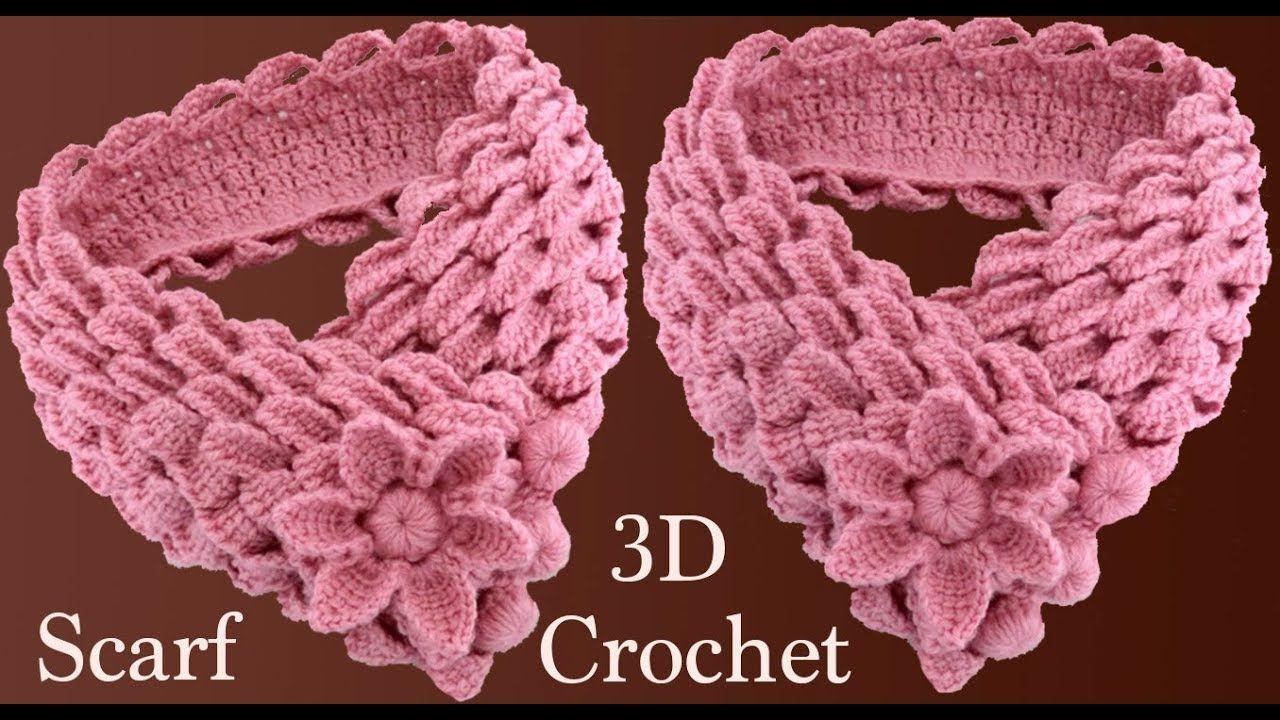 Bufanda a Crochet con trenzas de hojas y flor 3D en punto tunecino ...