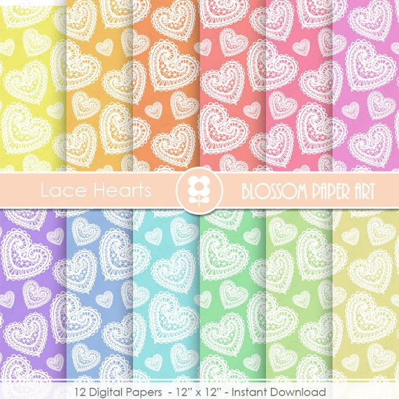 Hearts Digital Paper, Heart Digital Paper Pack, Lace, Colours, Scrapbooking Paper, Scrapbook, Rainbow
