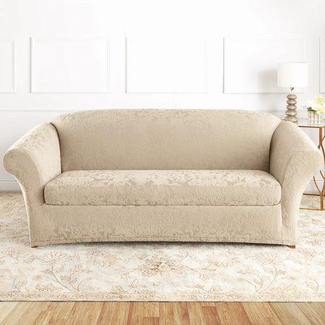 Surefit Sure Fit Jacquard Damask Stretch Sofa Slipcover Oyster 1 Cushions On Sofa Slipcovered Sofa Furniture Slipcovers