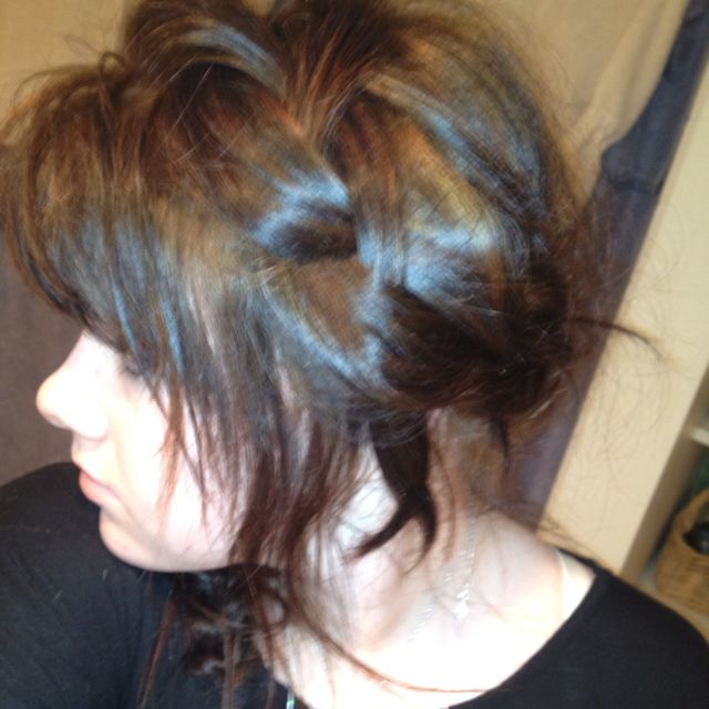 DAY TWELVE: couldn't get a good picture. I french braided my hair from the left all the way around to the right.