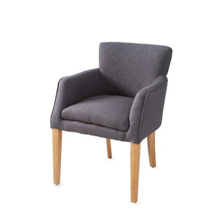 Finest waverly arm dining chair linen anthracite with for Kuipstoelen eetkamer