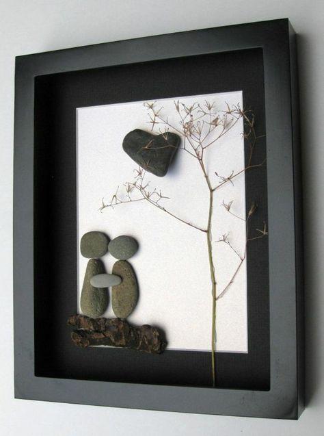 ein bild mit menschen aus steinen wand ideen steine kiesel und basteln mit steinen. Black Bedroom Furniture Sets. Home Design Ideas