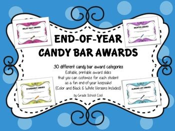 picture regarding Printable Awards for Students named Close of 12 months Sweet Bar Awards - 30 Customizable, Printable