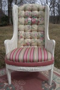 French Cane Upholstered Shabby Chic Chair