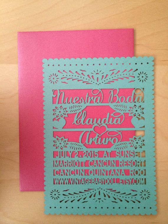 Laser Cut Invitations Are A Unique Style That Will Wow Your Guests And Set The Tone For Wedding Or Event We Personalize This Papel Picado