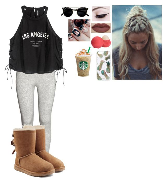 """""""A day out...💜💖💜💖"""" by coco2259 ❤ liked on Polyvore featuring UGG Australia, Sonix and Eos"""