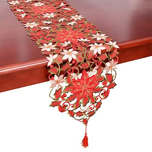 Simhomsen Christmas Holiday Poinsettia Lace Table Christmas Decor